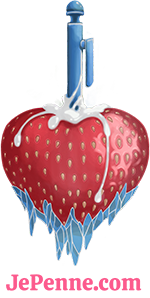 Logo of JePenne and Frostberry, a frosty strawberry deeply penetrated by a pencil with sperm overflowing.